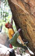 Rock Climbing Photo: On my first attempt.  Photo by Lori Mathews.