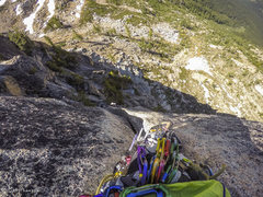 Rock Climbing Photo: Looking down mid crack on the 2nd pitch.  Very enj...