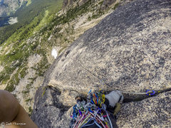 Rock Climbing Photo: Part way up 4th pitch.  After 3 tries, I finally f...