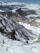 Rock Climbing Photo: Some steep snow in the upper part of the gully. Mo...