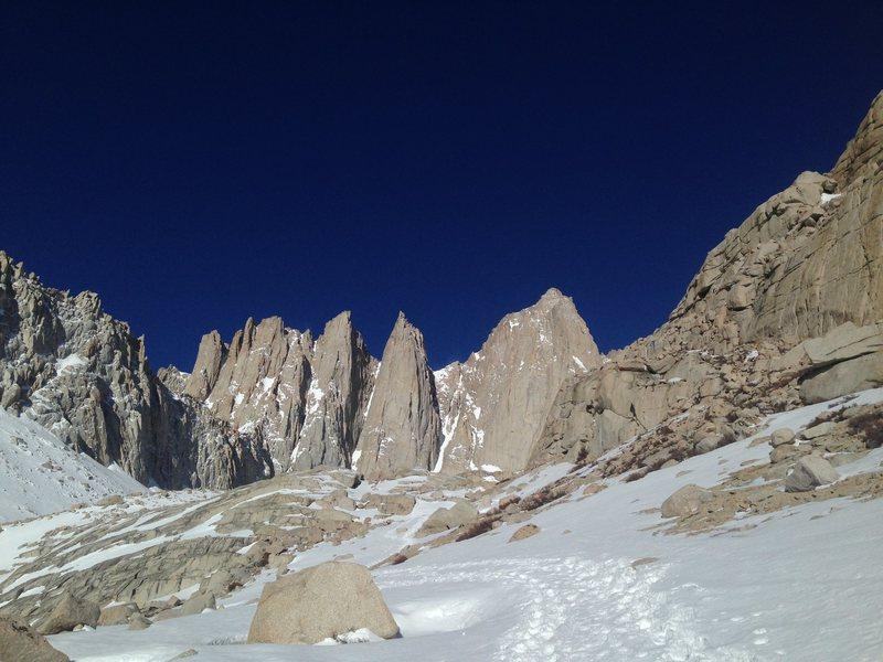 Tax-day on Mt. Whitney is so worth filing the extension. Wind was whipping up here and many folks were turning around.