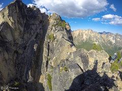 Rock Climbing Photo: Down Climbing the South Arete