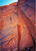 Rock Climbing Photo: FA. Spartans at the Door. Lost World Butte. Bartle...