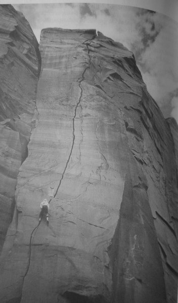 FA . Mirage Crack . Lost World Butte . Barlett Flat.Moab. with Andy Ross. 2000