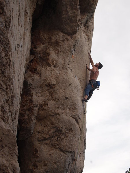 Rock Climbing Photo: Sinking the deep pocket right after the crux (IMO)