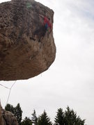 Rock Climbing Photo: Boulder problem in the sky...making the final clip