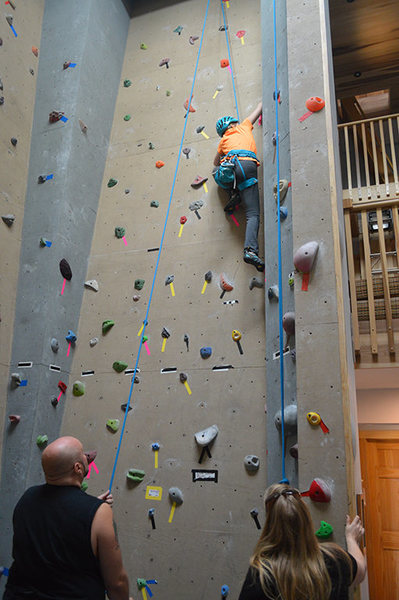 Climbing some new routes on the 20 ft. walls at the Crux Champlain Valley climbing center in Willsboro NY