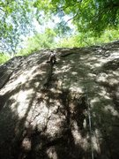 Rock Climbing Photo: Happy in the corner after the balancey crux.