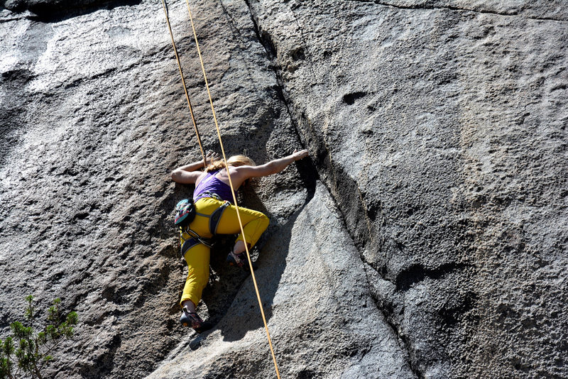 Me climbing the start of the lieback section of This is Hard (5.11c). PC: Laura Hayes