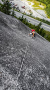 Rock Climbing Photo: Pitch 4, making it to the bolt after a 50 foot, un...