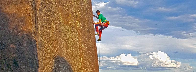 Rock Climbing Photo: I <3 slab aretes. Los Alamos Reservoir, NM