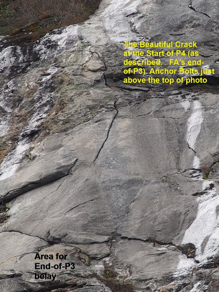 """Super-Telephoto of """"the Beautiful Crack"""" at the start of P4. """"Don't leave home"""" without climbing it."""
