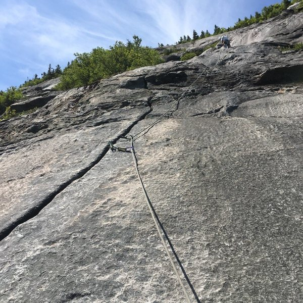 """The """"beautiful crack"""" at start of P4 (Have your green (#0.75) Camalot ready) Leader is at the (first) bolted belay."""