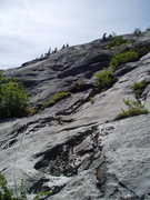 Rock Climbing Photo: RW on P5 After the initial move off the tree ledge...