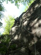 Rock Climbing Photo: Done with the leftward-angling part; now it's ...