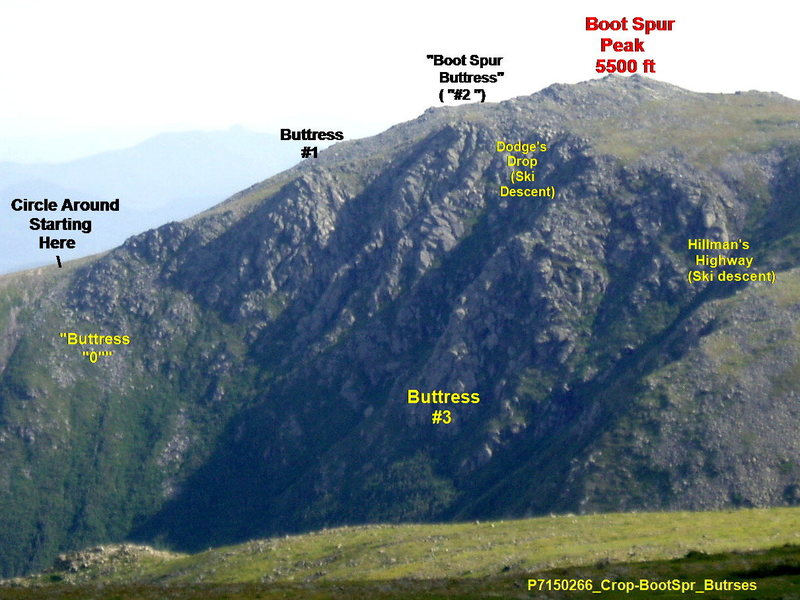 "Boott Spur Buttresses as Viewed from Alpine Garden Trail, near the Lion's Head (Yes, I know it's ""Boott"" not ""Boot"".)"