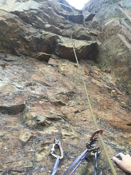 looking up from belay