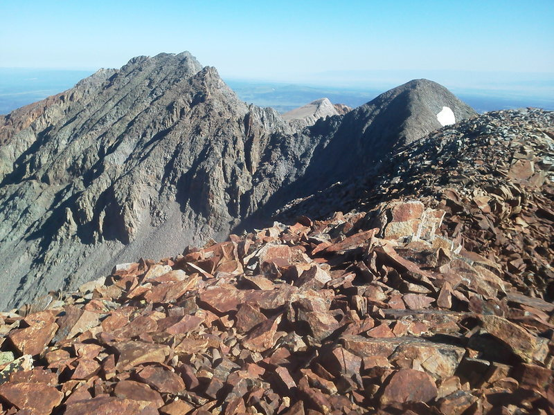 Looking south on S6 (13,441')'s south face from S5 (13,410').