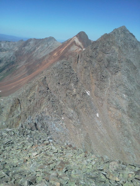 East Ridge of S6, fourth class. East Ridge of Mears Peak (the red 'un) behind.