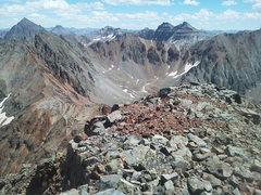 Rock Climbing Photo: West Ridge of S6 on left. Sneffels is pointy one b...