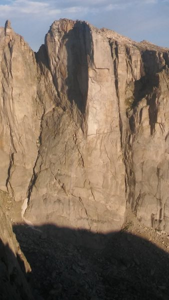 The route follows the obvious leftward diagnol up the beginning slabs and then up a crack system on the left side of the shadow.