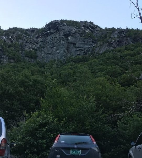 A view of the face as seen from the parking area.