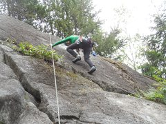 """Rock Climbing Photo: Dealing with the final moves at the top of """"L..."""