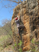 Rock Climbing Photo: Jesse moving past the crux.  View from straight on...