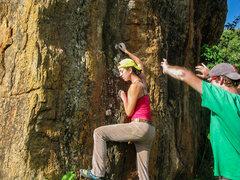Rock Climbing Photo: Steena on the start holds.