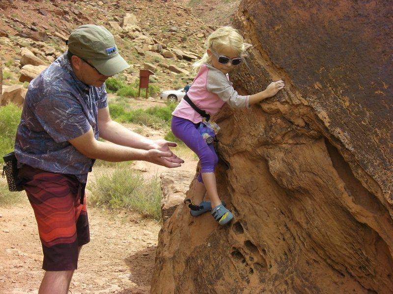 Olivia bouldering at Big Bend, Moab.