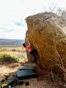 Rock Climbing Photo: Steena making the throw.