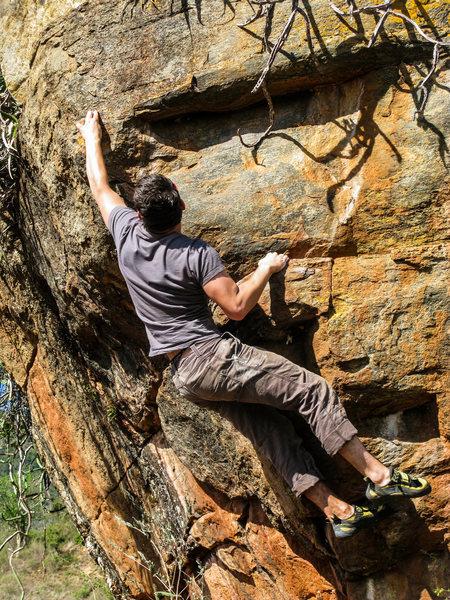 Rock Climbing Photo: The throw.