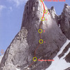 Joe Kelsey's Feather Buttress topo, corrected.
