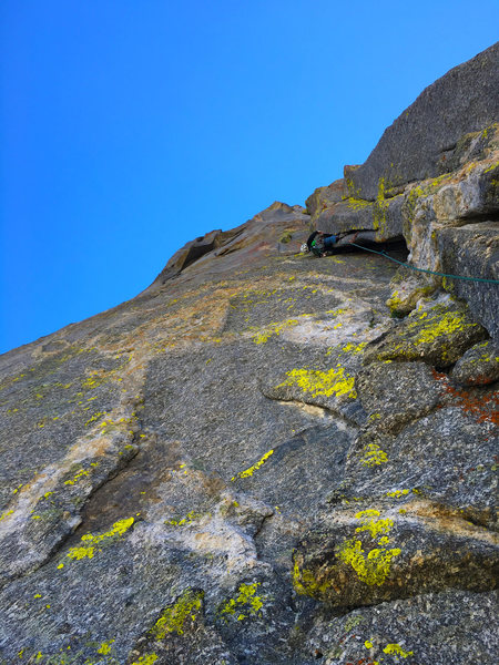 Rock Climbing Photo: Steep wide cracks on P2