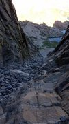 Rock Climbing Photo: looking down the chute about halfway up. The solid...