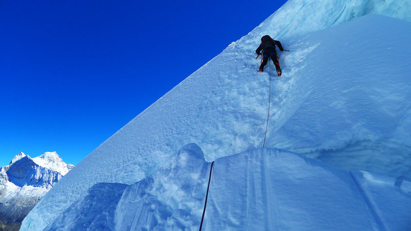 Rock Climbing Photo: Downclimbing a short step about an hour above high...
