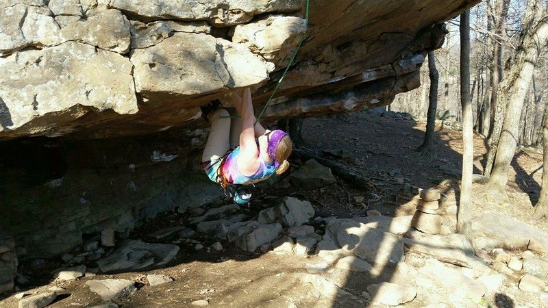 Myself climbing at UNK's outdoor adventure spring break 2015 trip. Don't be fooled, I only hung there long enough to get the picture