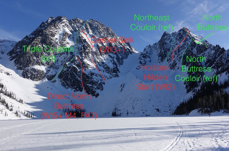 Overlay of Direct N Buttress on Dragontail Peak between Triple Couloirs and Gerber-Sink