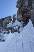 Rock Climbing Photo: Craig leading up the crux (P4)