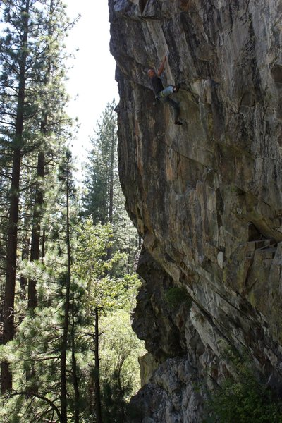 Rick Miller on Bio-exerocist .13a. B-Word Wall, Bowman Valley, CA.
