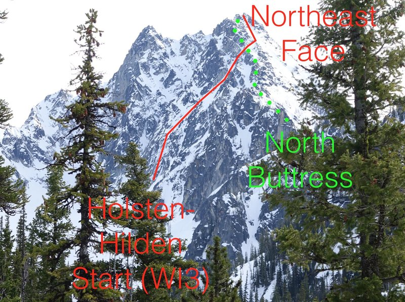 A view of the linkup variation to the N Buttress