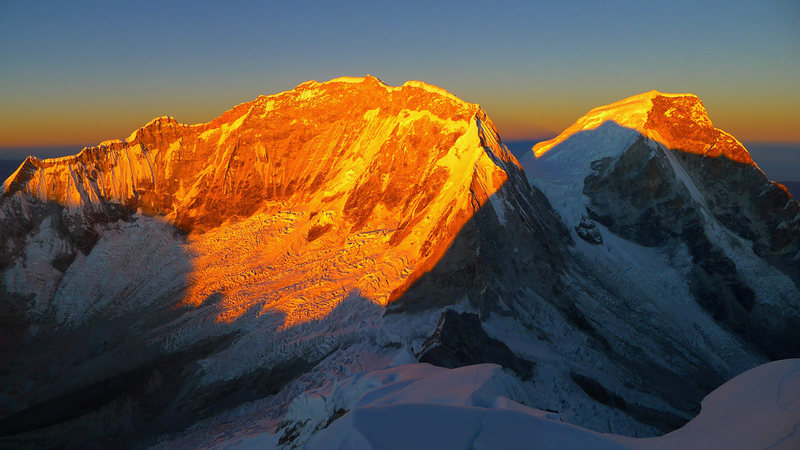 Neighboring Huascaran Sur & Huascaran Norte as seen at sunrise from high on Chopi&@POUND@39@SEMICOLON@s southwest ridge.