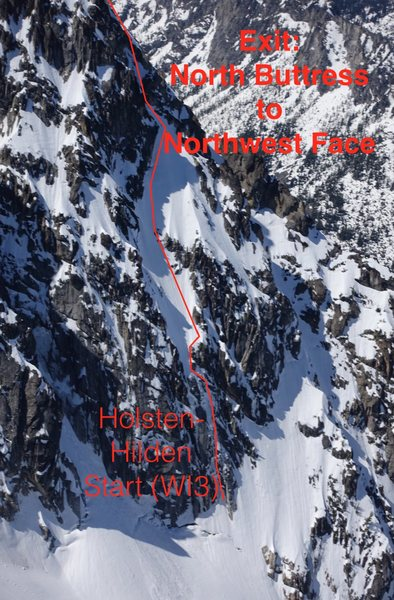 A view of the linkup variation of the N Buttress with the Holsten-Hilden/Hidden Couloir start