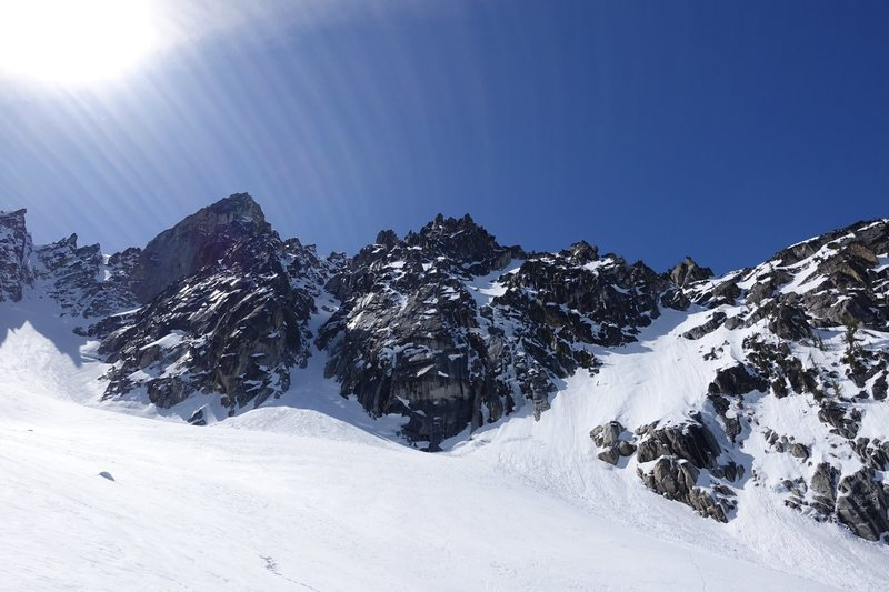 View from afar of the route between the Northeast Couloir (left) and the North Buttress Couloir (right)