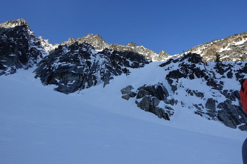 View of the approach near the base of the route.  Northeast Couloir to the left.