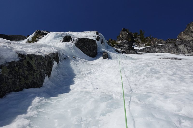 Higher up on Pitch 2 trending right leads to a short, steep section (AI3)