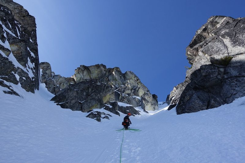 "The easy exit from the ""Hidden Couloir"" onto the North Buttress"