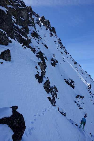 Easy mixed off of the North Buttress leads out onto the NW Face of Colchuck Peak