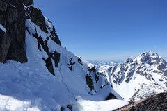 Rock Climbing Photo: Trending right on steep snow of the NW Face easily...