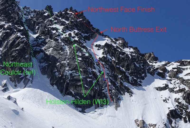 The Holsten-Hilden trends left to difficult mixed terrain, while the &quot@SEMICOLON@Hidden Couloir&quot@SEMICOLON@ trends right to the North Buttress